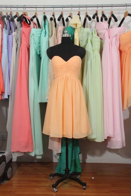 Peach Bridesmaid Dress, A-line bridesmaid dress,Sweetheart Short bridesmaid dress, Chiffon Bridesmaid Dress,bridesmaid dress,BD2720 UK4460