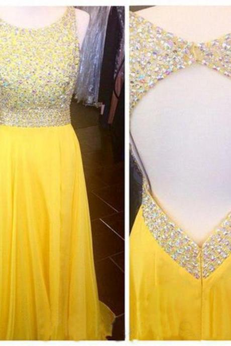 Open Back Prom Dress ,Yellow Prom Dresses,Sexy Chiffon Dresses,Beaded Prom Dresses, Floor Length Strapless Dresses,Scoop Evening Dresses, Long Prom Dress UK4504