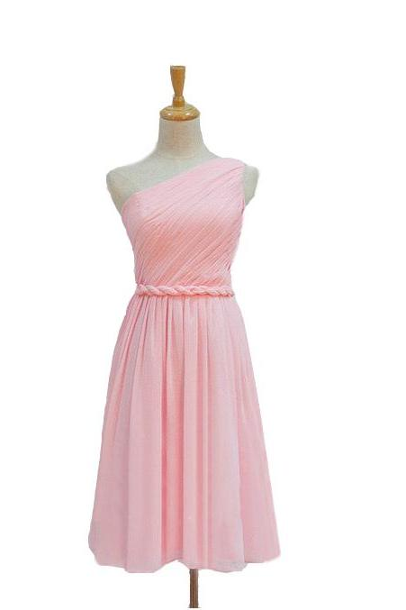 one shoulder bridesmaid dresses,pink bridesmaid dresses,formal bridesmaid dresses,chiffon bridesmaid dresses,cute bridesmaid dresses UK4595
