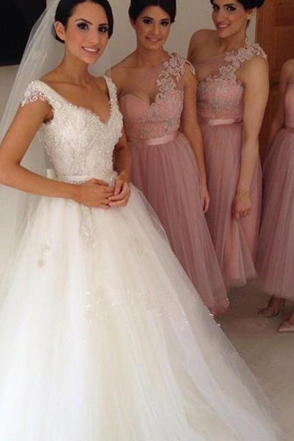 One shoulder bridesmaid dress, short bridesmaid dress, bridesmaid dress, lace bridesmaid dress, tulle bridesmaid dress, BD293 UK4598