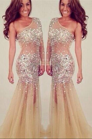 One Shoulder Beading Party Dress Evening Dress Luxury Women Prom Dress UK4607
