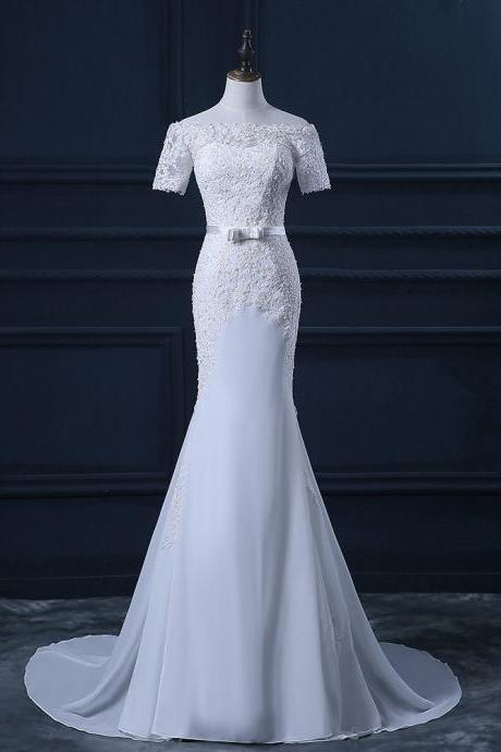 Off The Shoulder Short Sleeves Chiffon Appliques Lace Mermaid Wedding Dresses Gowns UK4618