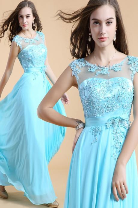 Newest Light Sky Blue Long Prom Dresses,Lace Prom Dress,Cap Sleeves Evening Dresses UK4695