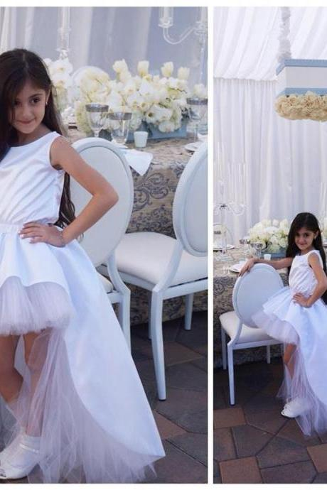 New White Elegant High Low Flower Girl Dresses Ball Gown Child Cheap Birthday Party Dresses Custom Made Child Wedding Party Dresses Prom Gowns UK4721