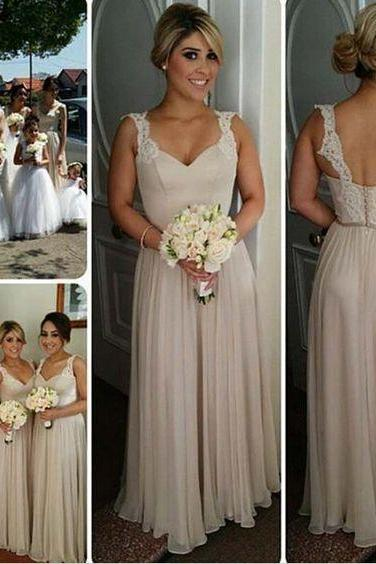 New Long Bridesmaid Dress,Chiffon Bridesmaid Dresses, Cheap Wedding Party Dress, Ivory Bridesmaid Dresses, V-neck Bridesmaid Dress UK4833