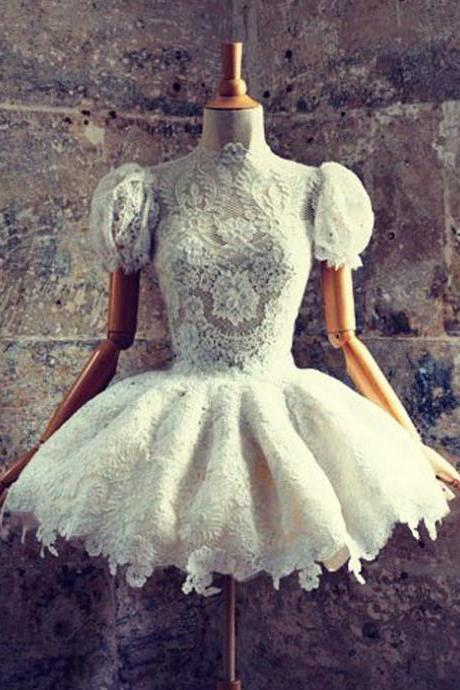 New Arrival A line Wedding Dress Ball Gown Wedding Dress Romantic Wedding Dress Short Lace Wedding Dress Bubble short-sleeved dress Princess graduation UK5057