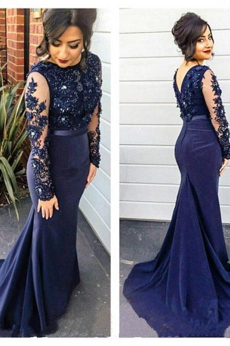 Navy blue Long sleeve Evening Dresses Long Lace Evening Dress UK5114