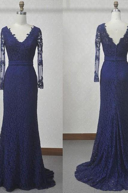 Navy Blue Lace Mermaid Evening Gown With Sheer Long Sleeves UK5119