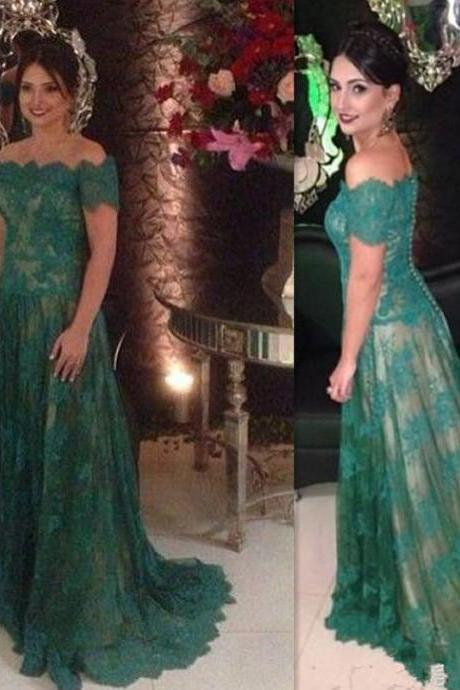 Mother Of The Bride Dresses Green Lace Off The Shoulder A-line Elegant Custom Made Evening Gowns For Mother's Bride UK5160