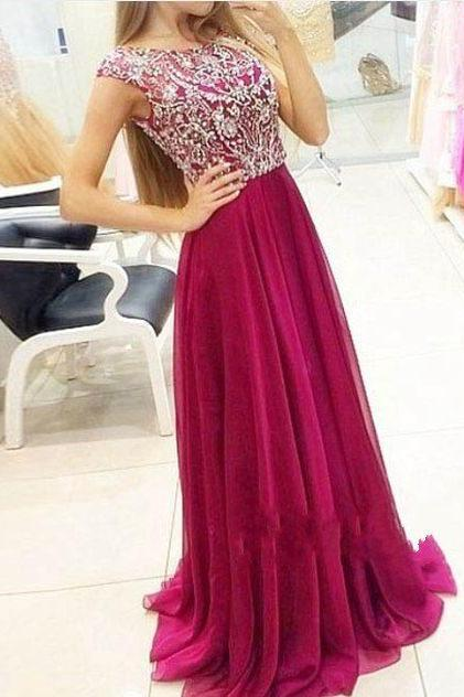 Modest Prom Dresses Long, Wine Red Chiffon Junior Prom Dress,Handmade A-line Evening Dress for Teens UK5187