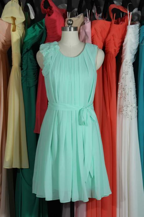 Mint Scoop Neck Bridesmaid Dress, Short Straps Chiffon Bridesmaid Dress, Party Dresses, Homecoming Graduation Dresses UK5226