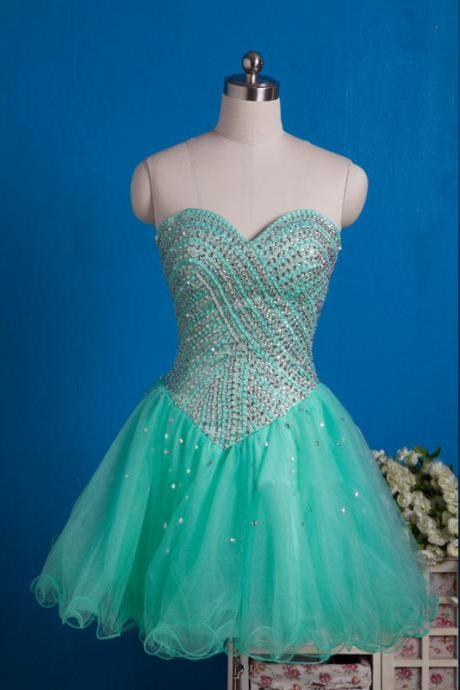 Mint Green Tulle Beaded Sweetheart Cocktail Dress With Lace Up UK5239