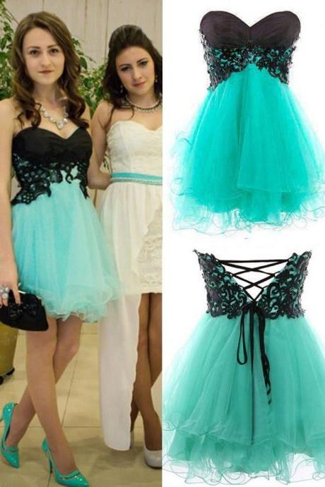 Mint Green Cocktail Dress,Knee Length Prom Dresses,Tulle Occasion Dresses,Tulle And Lace Homecoming Dresses UK5258