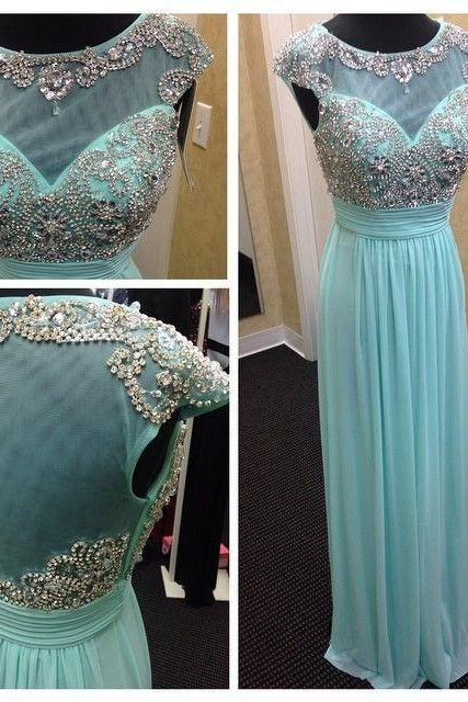 Mint green chiffon and tulle boat neck cap sleeve A line floor length beaded long formal Evening Prom dress UK5265
