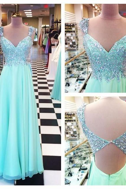 Mint Cap Sleeves Beaded Sweetheart Chiffon Prom Dress With Cut Out Back UK5275