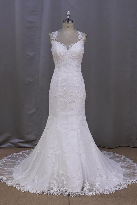 Mermaid V-neck Lace Court Train Wedding Dresses UK5309