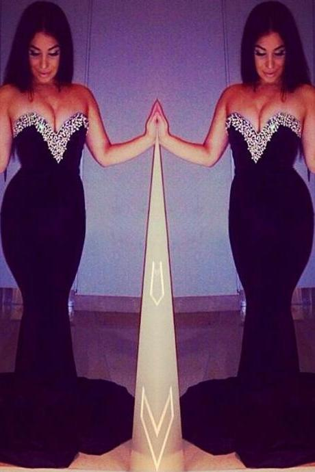 Mermaid Prom Party Dress in Black with Sweetheart Neckline DW00528 UK5334