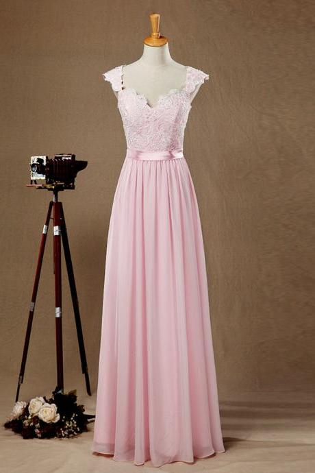 Light Pink Floor-length A-line Chiffon Bridesmaid Dress with Cap Sleeves and Lace