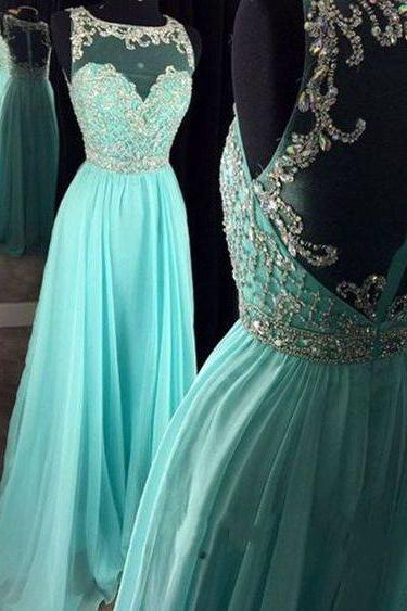 Beautiful Round Neck See-through Back Mint Chiffon Sequins Prom Dress, Homecoming Dress, Prom Dresses for Teens UK11857