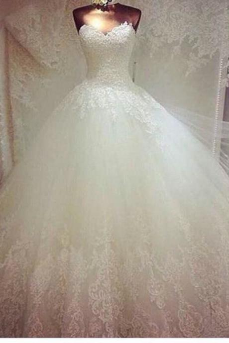 Wedding Dress,Custom Wedding Dress,Sweetheart Wedding Dress,Appliques Wedding Dress,Floor-Length Wedding Dress,Long Sleeve Wedding Dress,Glamorous Wedding Dress,White Wedding Dress,Lace Wedding Dress UK250