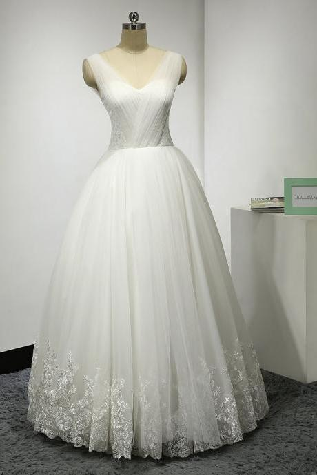 Ball Gown Tulle Floor Length Appliques Lace Wedding Dresses UK12018