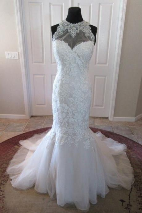 Backless Mermaid Sheer Lace Wedding Dresses Gowns UK12082