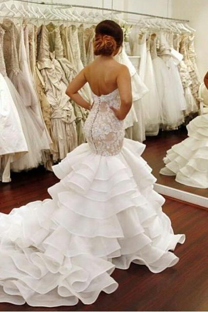 Cheap Plus Size Mermaid Wedding Dresses Sweetheart Lace Appliques Dropped Waist Covered Buttons Back Organza Court Train UK12757