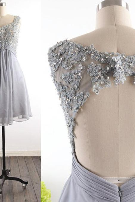 Grey Floral Applique A-line Homecoming Dress with Open back detail