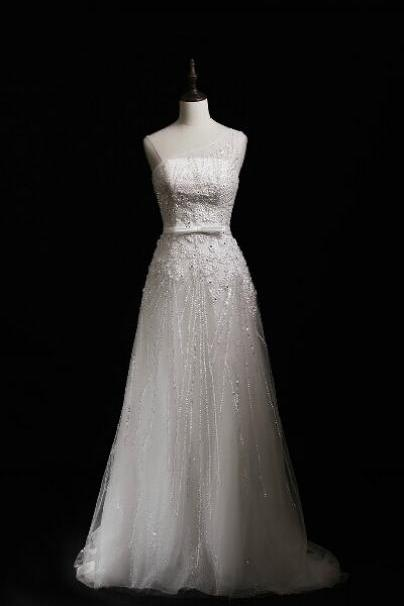 Pretty Tulle Full Beaded A Line Wedding Dress With Sheer One Shoulder UK12854
