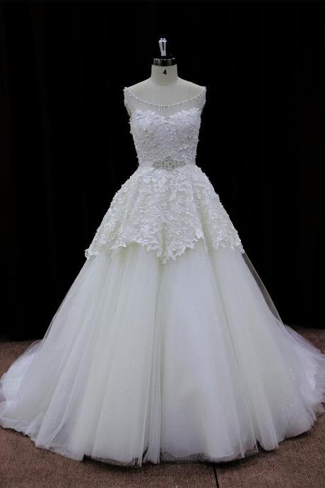 Floor Length Tulle Wedding Gown Featuring Sweetheart Illusion Bodice with Lace Appliqués and Crystal Embellished Neckline