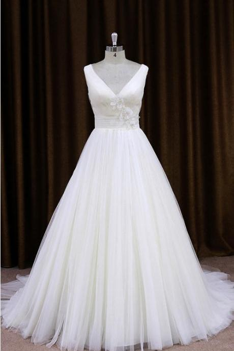 Simple Tulle V Neck A Line Wedding Dress With Sheer Lace Back UK12871
