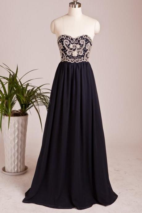Navy Blue Chiffon Sweetheart Formal Evening Gown With Beading UK13074