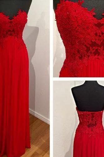 Charming Prom Dresses,Strapless Prom Dresses,Long Prom Dresses,Red Chiffon Prom Dresses,Backless Evening Dresses